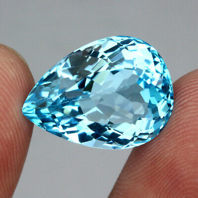 Clean 20.49ct. 20x14.5mm. Pear Cut 100%natural Top Sky Blue Topaz Brazil Elegant