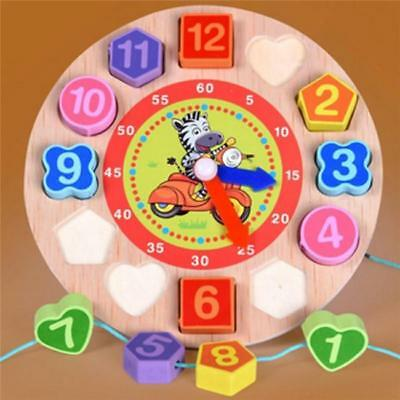 Wooden Puzzle Clock Animal Design Jigsaw Children Learn Colour Time & Number CB