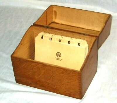 """Vintage Oak Dovetail Large Recipe Index Card Box 6 3/4"""" x 4 1/4"""" x 5 1/4"""" As Is"""