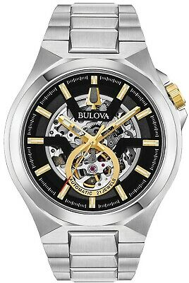 New Bulova Men's Automatic Maquina Stainless Steel Bracelet Watch 46mm 98A224