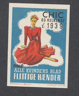 Denmark Poster Stamp  A&B  CHIC WOMENS MAGAZINE 1939 FASHION CLOTHING