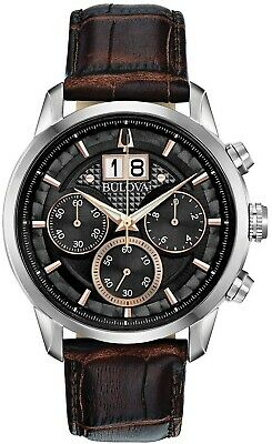 New Bulova Men' s Chronograph Sutton Brown Leather Strap Watch 44mm 96B311