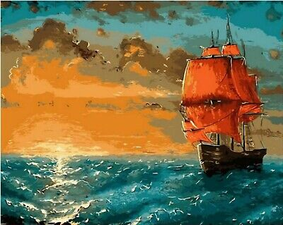 ABSTRACT SUNSET SAIL PAINT BY NUMBERS CANVAS PAINTING KIT 20 x 16 ins FRAMELESS