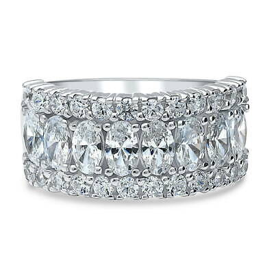 60c628f5615d Silver Vintage Style Art Deco Half Eternity Ring Made with Swarovski  Zirconia