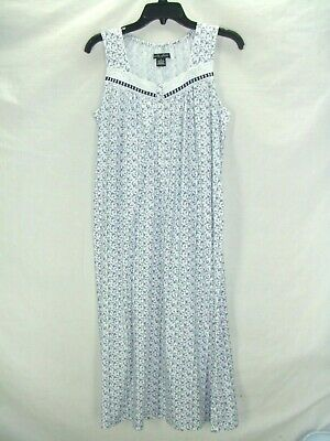 9b8910d41b Earth Angels S~White Navy Floral Cotton Poly Soft Knit Nightgown~Eyelet~