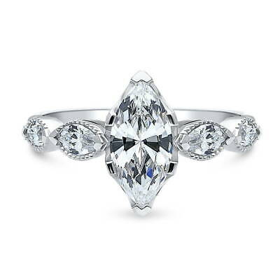 BERRICLE Sterling Silver Marquise Cut CZ Art Deco Solitaire Engagement Ring