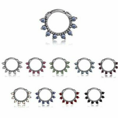 """Septum Clicker Hinged Nose Ring Hoop 316L Surgical Steel 3/8"""" 10mm CZ 14G"""