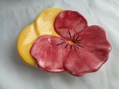 """Vintage Stangl Pansy Plate 6 1/2"""" Cranberry & Yellow  #3"""