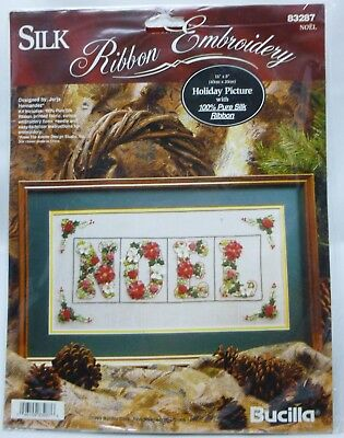 Bucilla NOEL Holiday Picture 83287 Silk Ribbon Embroidery Kit 1995 16x8 NEW