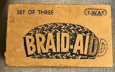 VINTAGE SET OF THREE 3-WAY BRAID AID TOOLS RUG BRAIDING ORIGINAL BOX W/Instructi