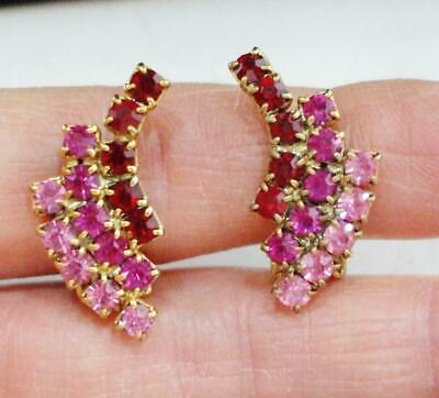 Pretty Vintage Red & Pink Rhinestones Earrings Prong Set Stones, Clips