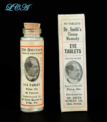 RARE antique Dr Smith's EYE TABLETS bottle in box, FULL LABEL contents ERIE PA