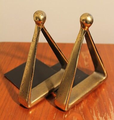Pair Mid Century Modern Ben Seibel Jenfred Ware Stirrup Bookends Brass Finish