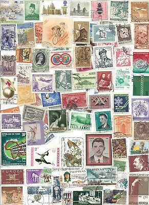 75 Different cancelled Worldwide  Stamps 11/25