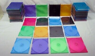 Lot of 25 Slim DVD Storage Cases Plastic Jewel CD Sleeve Assorted Colors + Black