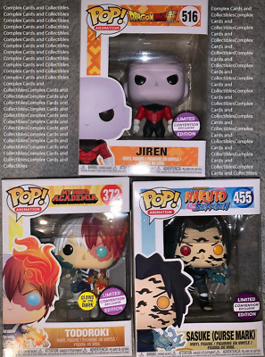 Funko Pop Lot Jiren, Todoroki GITD, Sasuke (Curse Mark) [CONVENTION EXCLUSIVES]