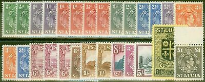 St Lucia 1938-48 Extended set of 27 SG128-145 All Perfs & Shades V.F MNH