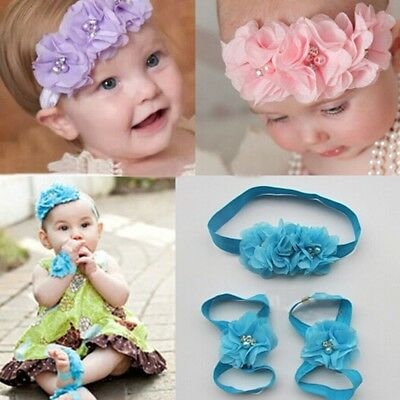 Foot Flower Barefoot Sandals + Headband Set for Baby Girls Hot Sale A Infants