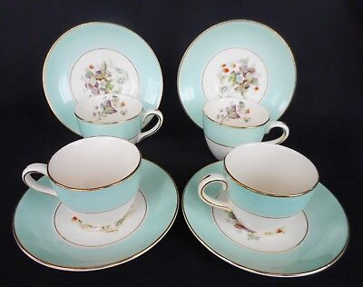 Set Of Four Art Deco Crown Ducal Coffee Cups/ Saucers ~ Strawberry Fair !