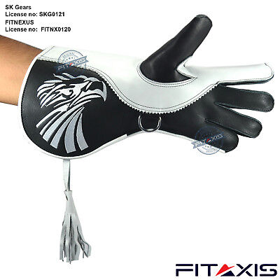 Falconry Eagle Birds Hunting Gloves White Embroidered Double skinned Wide Cuff