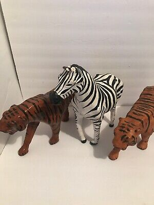 Original Vintage Paper Mache 2 Tigers, 1 Zebra  Animal Hand Crafted. Pre-owned
