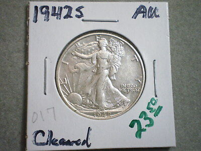 1942-S Walking Liberty Half Dollar/ Perfect For The Collector/ Cleaned