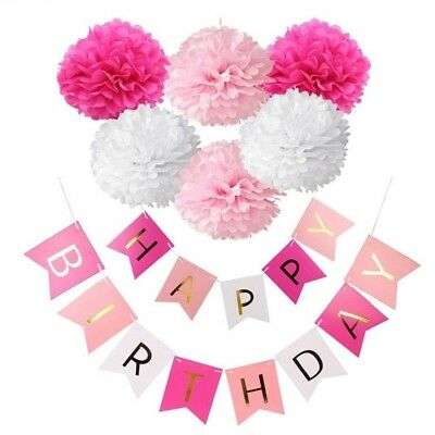 Blue Pink Happy Birthday Party Decoration Kids Baby Boy Girl 1 First Year