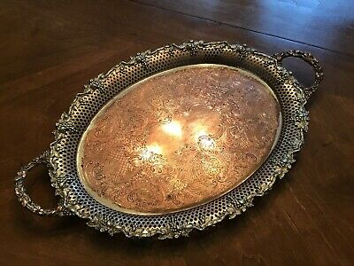 Large Beautiful Antique Silver-plated Copper Tray Pierced Grape Pattern Vtg Old