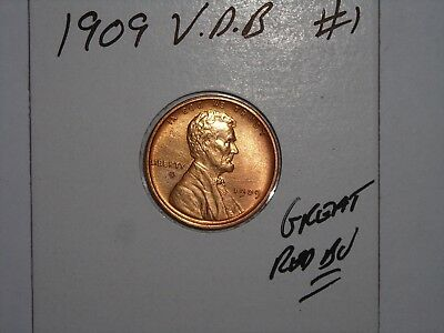 wheat penny 1909 VDB LINCOLN CENT NICE RED BU 1909-P V.D.B LOT #1 RED UNC LUSTER