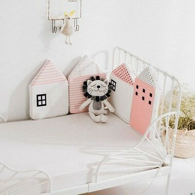 4PCS Baby Crib Bumpers Cotton House Shape Kids Toddler Bed Bumpers Bed Protector