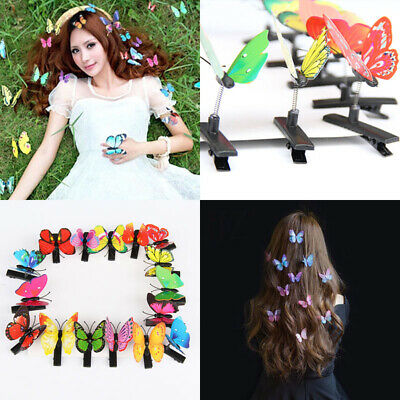 10x Women's Kids 3D Butterfly Hair Clip Clamp Barrettes Color Wedding Jewelry