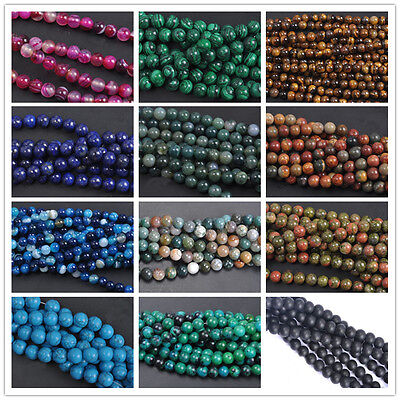 4/6/8/10mm Lots Natural Jade DIY Gemstone Stone Loose Spacer Making Beads Gifts