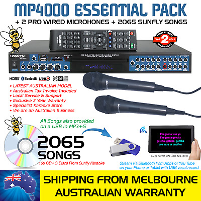 Mp4000 Pro Karaoke Machine Essential 2065 Song Deal, 2 Mics, Bluetooth