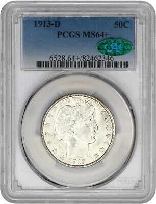 1913-D 50c PCGS/CAC MS64+ Flashy! - Barber Half Dollar - Flashy!