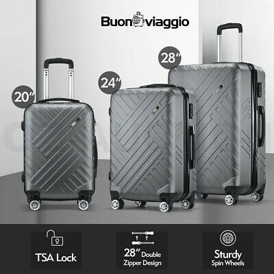 Buonviaggio 3PC Luggage Suitcase Trolley Set TSA Storage Organizer Travel Case
