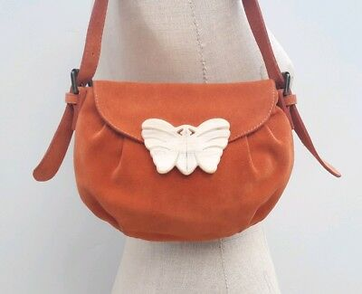 68c5b240f2cd Vintage Mulberry Suede Leather Small Orange Handbag Tote Grab purse  Butterfly