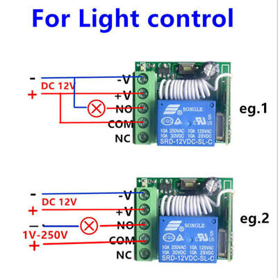 DC 12V Relay 1CH Wireless RF Remote Control Switch Transmitter 433MHz sed