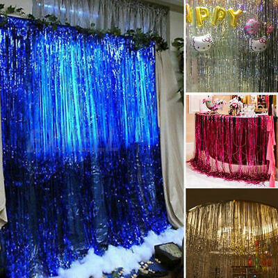 Foil Fringe Curtains Photo Booth Tinsel Door Backdrop Party Decoration