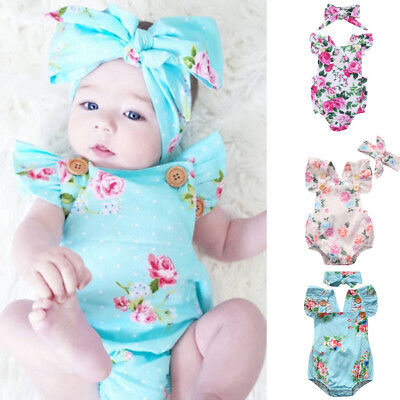 Newborn Headband Infant Baby Girl Floral Romper Jumpsuit Bodysuit Clothes Outfit