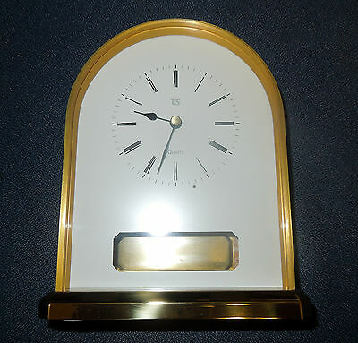 German Small Mantel Round Top Clock, Quartz Movement With Engraving Plate