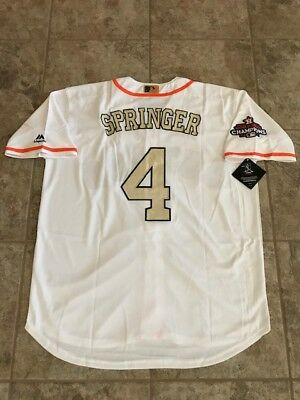newest 68023 cd850 GEORGE SPRINGER #4 Houston Astros Gold World Series Champions Men's Jersey