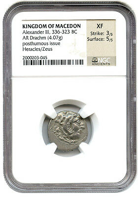 336-323 BC Alexander III AR Drachm NGC XF (Ancient Greek)