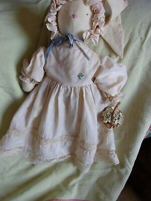 """primitive country cloth bunny rabbit vintage doll clothes easter spring baby 15"""""""