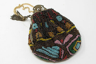 Antique Small Lined Beaded Hand Bag Purse Mirror Beautiful