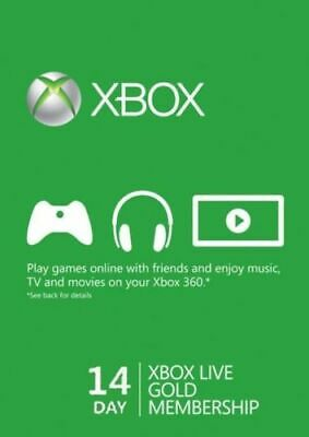 Microsoft XBOX LIVE  2 Weeks 14 Days Xbox One/360 GOLD Trial Membership Code NEW