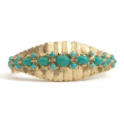Vintage Turquoise Ornate Small Bangle Bracelet in 14K Yellow Gold, 21.7 Grams