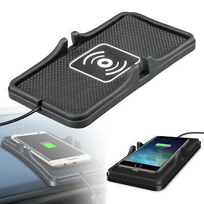 Qi Wireless Charger Car Holder Mount Non-Slip Pad Mat For Samsung iPhone 8 XS UK