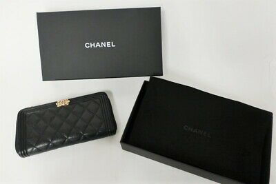 9f6dbefa8db6 CHANEL BOY QUILTED Wallet Lambskin Gray Ruthenium Hardware RHW ...