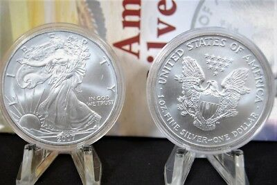 2007 Silver American Eagle BU 1 oz Coin US $1 Dollar Uncirculated Toning Capsule