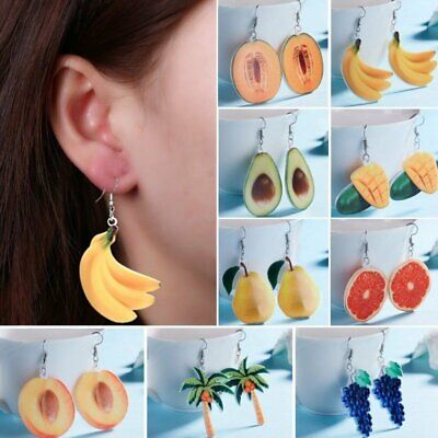 Fashion Watermelon Orange Peach Fruits Earrings Hook Eardrop Party Summer Gift